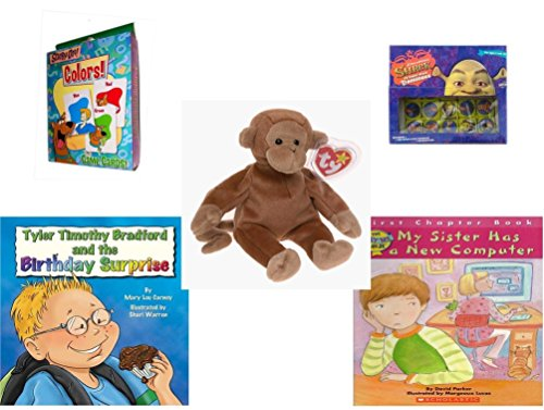 Children's Gift Bundle - Ages 3-5 [5 Piece] - Transformers Rescue Bots Memory Game - Shrek Dominoes Toy - Ty Beanie Baby - Bongo The Monkey - Tyler Timothy Bradford and The Birthday Surprise Hardcov (Tyler Beanie)