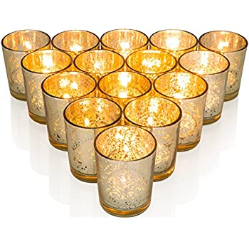 Premium Votive Candle Holders made of Mercury Glass with Speckled Gold - Adds warm elegant glow to every Home or Wedding Decor, Set of 15