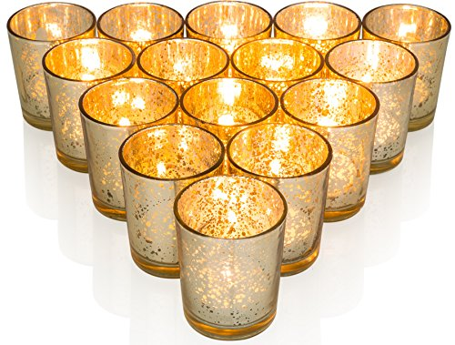 Premium Votive Candle Holders made of Mercury Glass with Speckled Gold - Adds warm elegant glow to every Home or Wedding Decor, Set of - Votive Glass Metallic