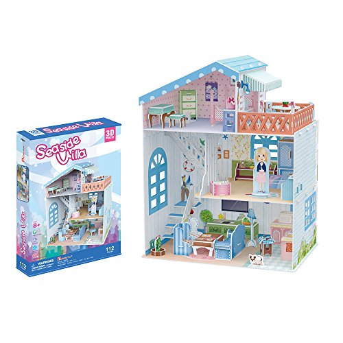 CubicFun P683h Dollhouse - Seaside Villa with Furniture Lovely 3d Puzzle, 112 (French Halloween Puzzle)