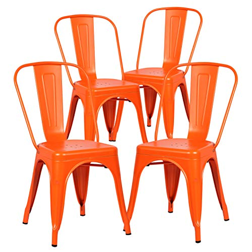 Poly and Bark Trattoria Patio and Dining Metal Side Chair in Orange (Set of 4)