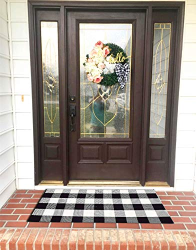 Ukeler Buffalo Plaid Indoor Outdoor Rugs Washable- Cotton Black and White Rug for Front Porch/Kitchen/Sink/Bathroom/Laundry Room Farmhouse Welcome Door Mat Layered Doormat, 2'×4'2 ()