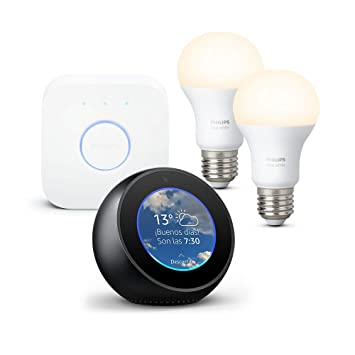 Amazon Echo Spot, negro + Philips Hue White Kit - Kit de 2 bombillas LED