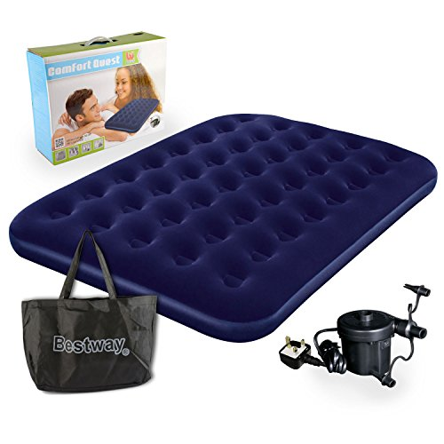 Bestway Comfort Quest Double Flocked Air Bed With Pump with Carry Bag