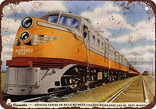 Jay Welch New Tin Sign Aluminum Retro 1948 Milwaukee Road Hiawatha Train Vintage Look Reproduction 8 x 12 Inch