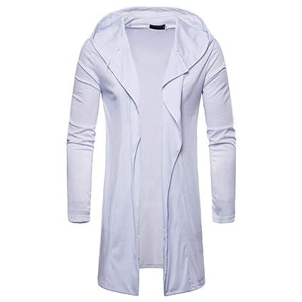 Resplend Moda para Hombre con Capucha sólido Trench Coat Jacket Cardigan Manga Larga Outwear Blusa: Amazon.es: Ropa y accesorios