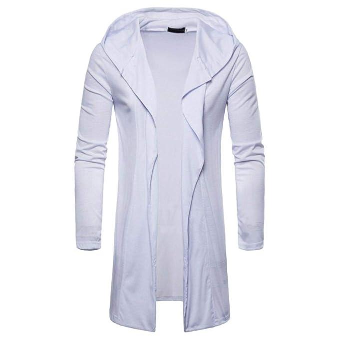 Resplend Moda para Hombre con Capucha sólido Trench Coat Jacket Cardigan Manga Larga Outwear Blusa