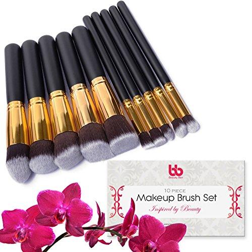 Professional Kabuki Makeup Brushes Set – 10 Pc Cosmetic Foundation Make up kit – Beauty Blending for Powder & Cream – Face & Lip Bronzer Concealer Contour Brush – Beauty Bon (Gold)