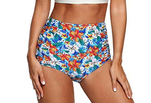 (Tribal/Plaid/Solid/Floral Vintage Retro High Waisted Bikini Bottom-BX030-FL3)