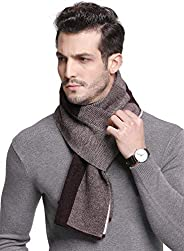 RIONA Men's 100% Australian Soft Merino Wool Knitted Plaid Warm Scarf with Gift