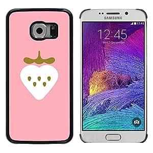 TopCaseStore / la caja del caucho duro de la cubierta de protección de la piel - Strawberry Art Pink Drawing Watercolor - Samsung Galaxy S6 EDGE SM-G925