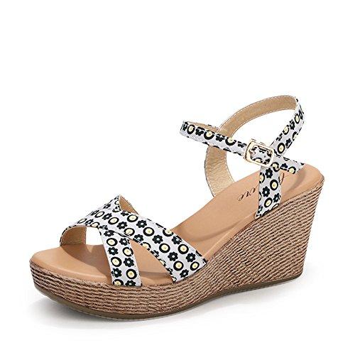 Chanclas MEIDUO sandalias 7.8cm Sandalias gruesas ocasionales de los zapatos de tacón alto de la manera femenina del verano con 2 colores cómodo 1001