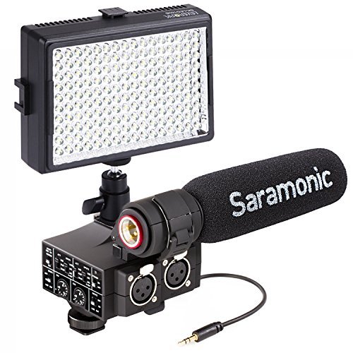 Saramonic MixMic LED Light Bundle Including Shotgun Microphone with 2-Channel XLR Audio Adapter for DSLR Cameras and Camcorders