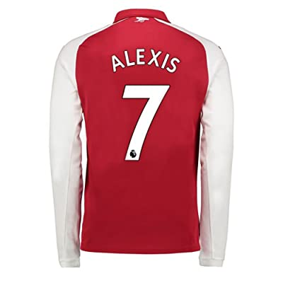 Zymenjs Arsenal #7 Alexis Sanchez Long Sleeve Home Mens Soccer Jersey 2017-2018 Red Size M