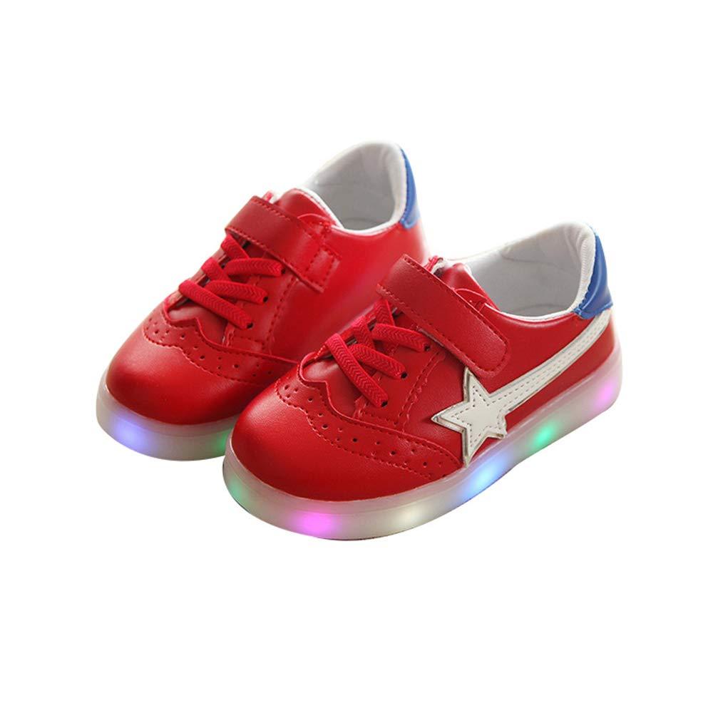 edv0d2v266 Kids Toddler Boys Girls Luminous Sneakers Light up Shoes LED Shoes(Red 23/6MUSToddler)