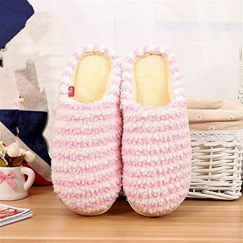 Pink JaHGDU Ladies Slippers Indoors to Keep Wwarm in Autumn and Winter Leisure Cotton Slip Slippers Cute Stripe Pattern Female Flip Flop