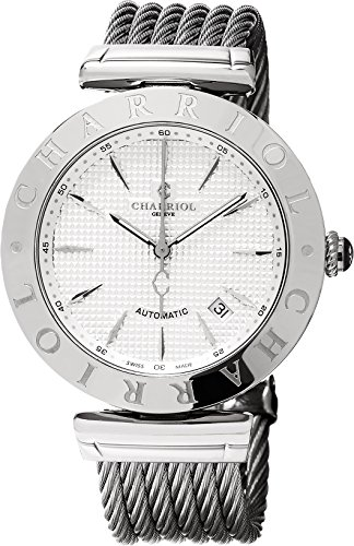 Charriol Men's 'Alexandre C' Swiss Automatic Stainless Steel Dress Watch, Color:Silver-Toned (Model: ALAS51A001) by Charriol