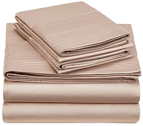 Pinzon 400-Thread-Count Egyptian Cotton Sateen Pleated Hem Sheet Set - King, Mocha
