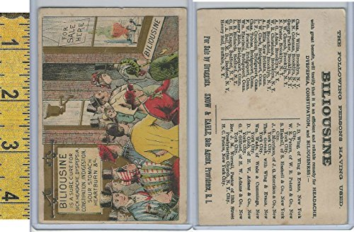 Victorian Card, 1890's, Biliousine Medicine, Providence RI, City Crowd - Providence Ri Shopping
