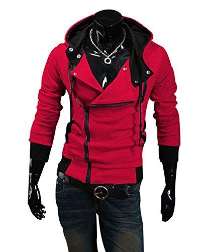 Sweatshirt Colore Obliqua Hoodies Cappuccio Cerniera Moda Autunno Sportivo Rosso Maglione Contrasto Casuale Con Uomo Felpa Primavera Minetom X8qdXB
