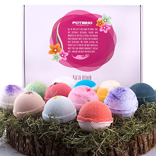 Foteino USA Made Bath Bombs Gift Set 12 Pack Large Size 4.5 OZ,Natural Sunflower Oil & Organic Shea Butter Moisturizing Skincare,Fizzy Molds,Handmade,Vegan Friendly,Individually Wrapped