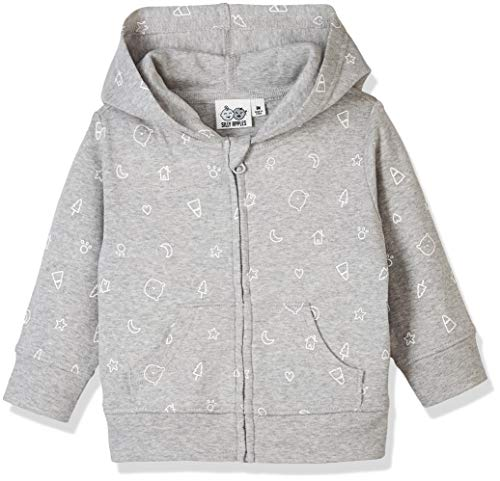 Silly Apples Pure Cotton Baby Unisex Long-Sleeve Hoodie Jacket (NB) Grey
