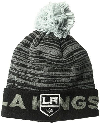 NHL Los Angeles Kings Adult Men Pro Authentic Cuffed Pom Knit, One Size, Black