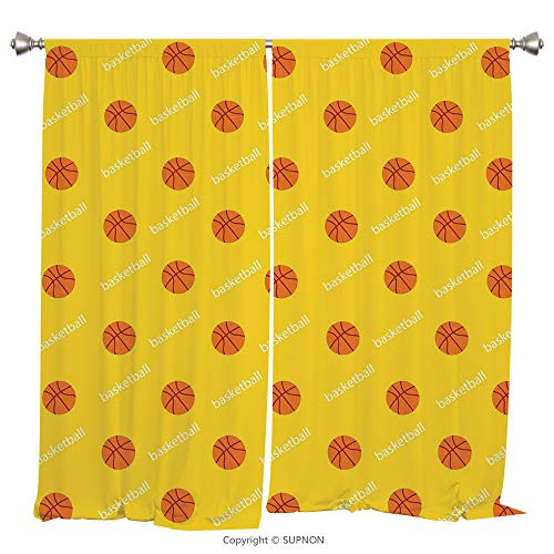 Rod Pocket Curtain Panel Thermal Insulated Blackout Curtains for Bedroom Living Room Dorm Kitchen Cafe/2 Curtain Panels/108 x 95 Inch/Basketball,Athletics League Theme Balls on Yellow Backdrop Goal Fu ()