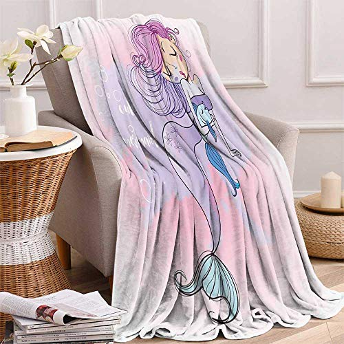 maisi Mermaid Decor Custom Design Cozy Flannel Blanket Cartoon Illustration with Lettering Cute Mermaid Smiling Glamour Beauty Lightweight Blanket Extra Big 70