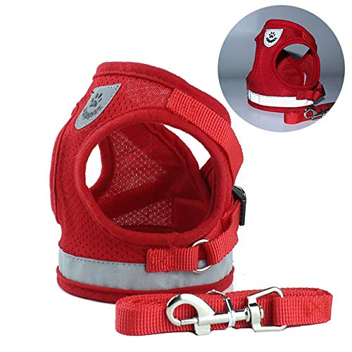 - Bow Bow Dog Harness Vest Reflective with Leash Attachments and Easy Control Handle for Small Medium Large Dogs (M (40cm), Red)