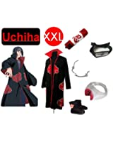Naruto Itachi Uchiha cosplay costume and shoes set ,size XXL