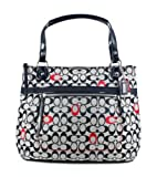 Coach Poppy Embroidery Signature C Glamour Tote Handbag 21184 Black White Red, Bags Central