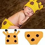 Osye Newborn Baby Crochet Knitted Outfit Handmade Animal Style Costume Set Photography Photo Props (Yellow Deer)