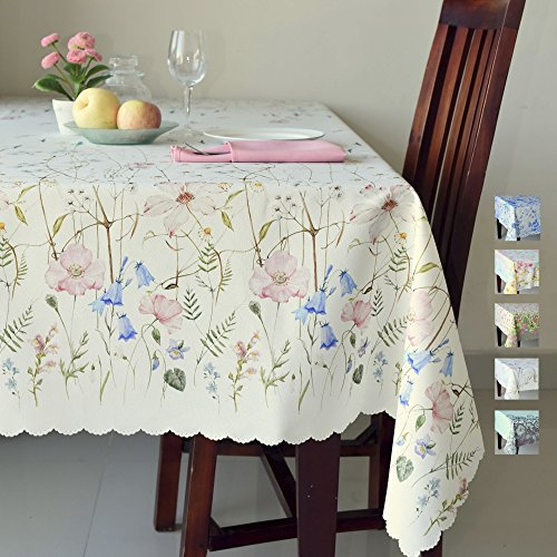 Floral Coloring Rectangle Ivory Tablecloth Non-iron Stain Resistant- Table Cover Perfect for Kitchen Dining Room Restaurants Thanksgiving Christmas Dinner New Year (ECRU flowers, Rectangle 60