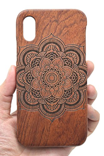 VolksRose iPhone X/iPhone Xs Wooden Case - Rosewood Mandala Flower - Premium Quality Natural Wooden Case for Your Smartphone and Tablet