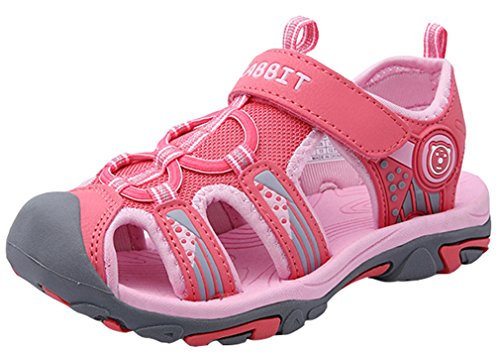 VECJUNIA Boy's Girl's Sports Waterproof T-Strap Outdoor Sandals Beach Running Shoes (Pink, 3 M US Little Kid)