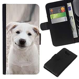 Smiling Labrador Puppy Pet - la tarjeta de Crédito Slots PU Funda de cuero Monedero caso cubierta de piel Samsung ALPHA G850