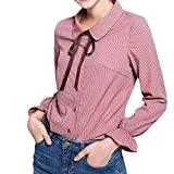 Celiy Womens Students Girl Basic Long Sleeve Cotton Simple Button Down Shirt Blouse with Bow (2XL, Pink)
