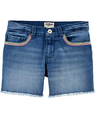 (Osh Kosh Girls' Little Denim Shorts, Rainbow Southampton wash, 5)