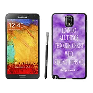Elegant Samsung Galaxy Note 3 Case Soft TPU Silicone Black Phone Cover Philippians 413 Religious Bible Verse Inspirational Snap-On Black Jesus Christ