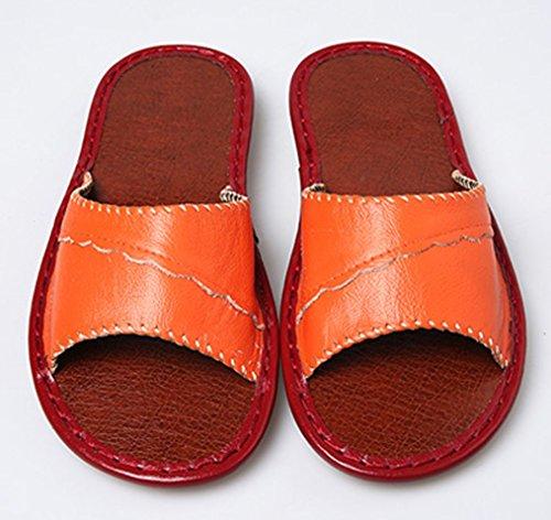 Cattior Dames Open Teen Gezellige Dames Slippers Lederen Slippers Oranje