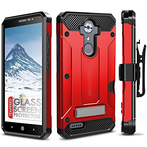 ZTE MAX XL Case, Evocel [Explorer Series Pro] Dual Layer Credit Card Case with Glass Screen Protector & Magnetic Kickstand for ZTE Blade Max 3/ ZTE Blue Max/ZTE N9560/ ZTE Z986/ ZTE N986, Red