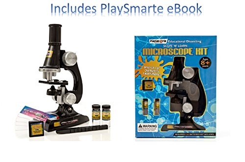 Playsmarte Kids Microscope 100X-400X Inspecting Dissecting Zoom LED Lights Microscope Comes With Tweezer, Blank Slides, Prepared Slide, blank labels For Kids with Ebook
