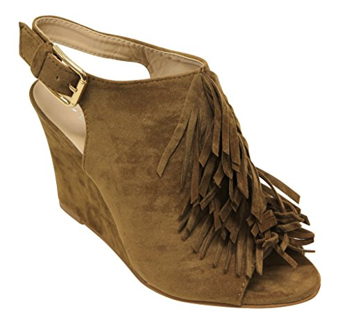 Forever Allie-38 Womens Peep Toe Upper Fringe Wedge Heel Slingback Adjustable Ankle Strap Suede Mules Sandals Dark Tan 6 fHYLeA