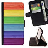 King Art - Premium PU Leather Wallet Case with Card Slots, Cash Compartment and Detachable Wrist Strap FOR Samsung Galaxy S4 Mini i9190 I9192- Rainbow