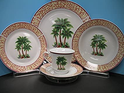 20 Pc PALM TREE Dinnerware plate dishes.TROPICAL NEW Decor Dinner set Bar Home. : palm tree dinnerware - pezcame.com