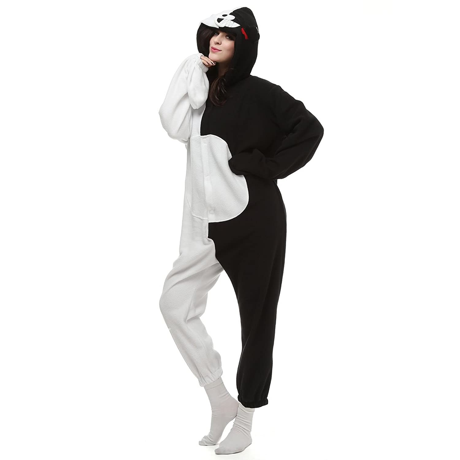 Casa Adult Pajamas - Unisex Fleece Onesie Sleepsuit Animal Onesies Kigurumi Hooded Pyjama Nightwear Costume One-Piece Bear S-XL