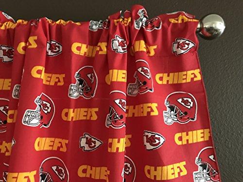 Zen Creative Designs 100% Cotton NFL Sports Team Kansas City Chiefs Red Multi-Print Window Valance Panel/Kids Nursery Window Treatment Decor (20