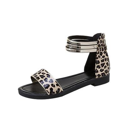 465671bba1 Lolittas Leopard Print Leather Sandals for Women, Summer Roman ...