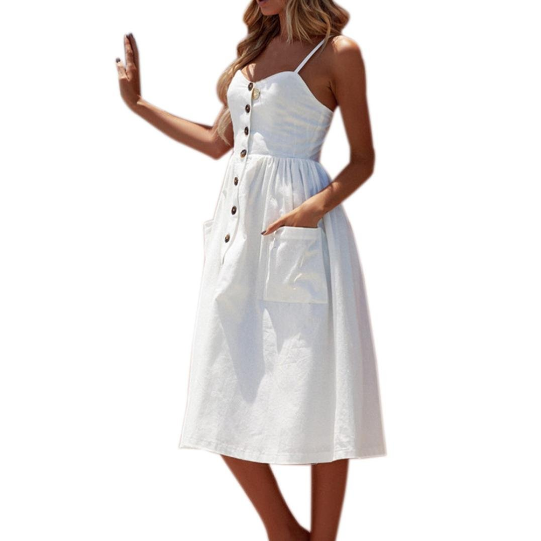 Tenworld Women's Solid Color Summer Spaghetti Strap Button Down Swing Midi Dress